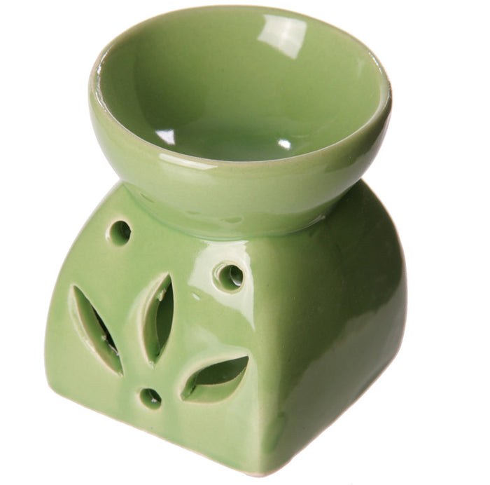 Square Flower Green Wax Warmer/Burner with pack of 10 Scented Melts