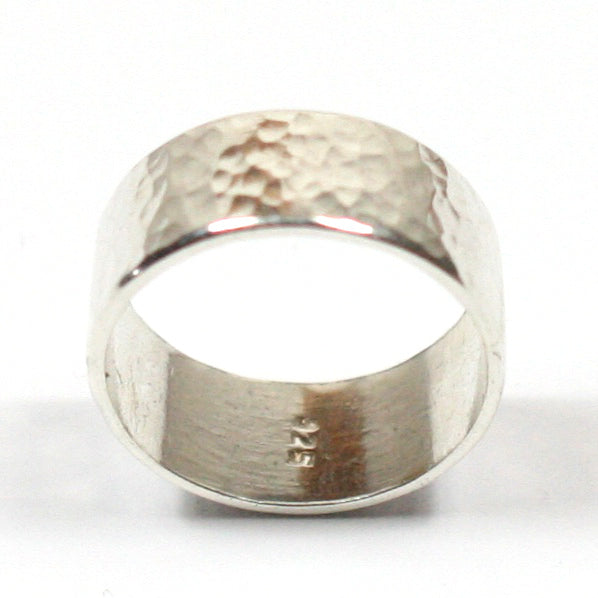 Handmade Chunky Hammered Wide 8mm Solid Silver 925 Band Ring Hallmarked