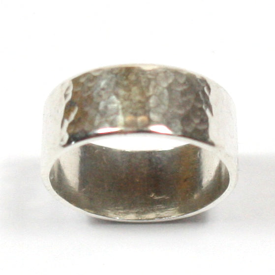 Handmade Chunky Hammered Wide 10mm Solid Silver 925 Band Ring Hallmarked