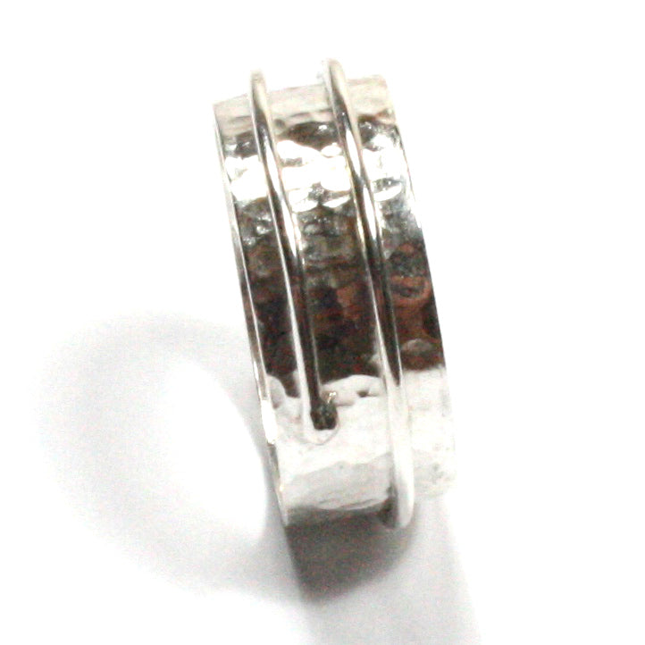 1f85fb9ecb0 Buy Handmade Chunky Hammered Wide 8mm Solid Silver 925 Wrapped Band Ring  Hallmarked by Gower Coast Crafts for only £31.00