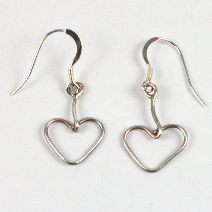 Handmade Solid Silver 925 Heart Drop Earrings