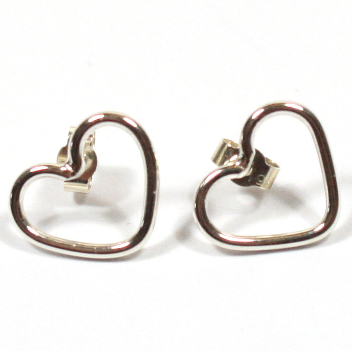 Solid Silver 925 Handmade 1.5mm Heart Stud Earrings