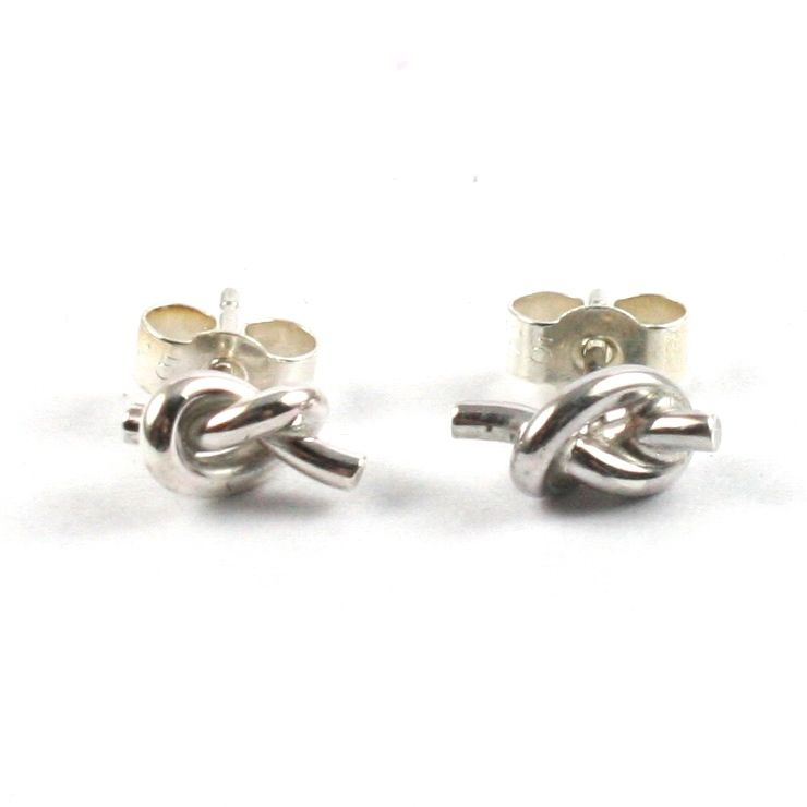 Handmade Solid Silver 925 Knot Stud Earrings