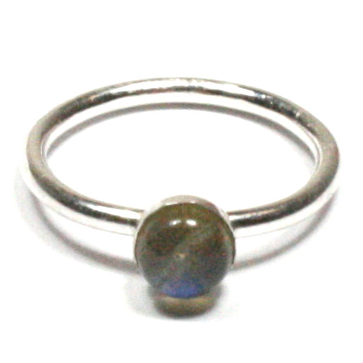 Handmade Solid Silver 925 Labradorite 1.8mm Stacking Ring