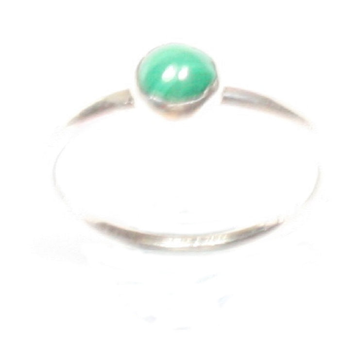 Handmade Solid Silver 925 Malachite 1.8mm Stacking Ring