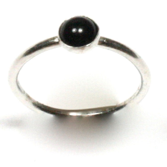 Handmade Solid Silver 925 Black Onyx 1.8mm Stacking Ring