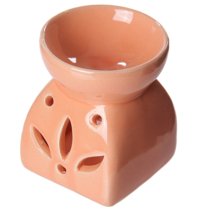 Square Flower Orange Wax Warmer/Burner with pack of 10 Scented Melts