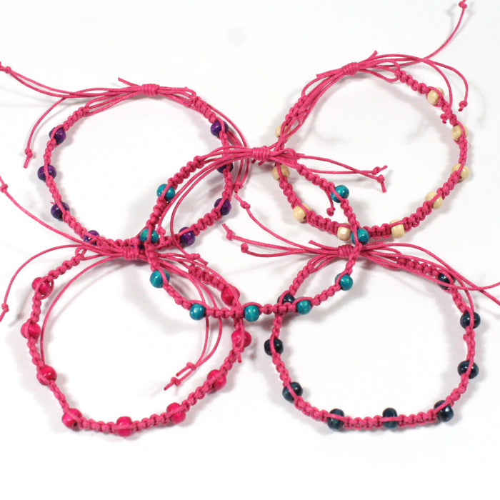 Tribal Hot Pink Macrame and Wooden Bead Wristband Bracelet