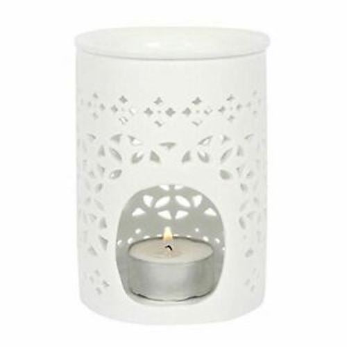 White Matte Lattic Warmer/Burner with pack of 10 Scented Melts