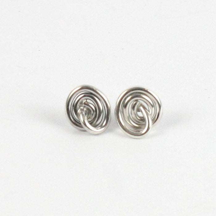 Handmade Solid Silver 925 Spiral Heart Stud Earrings