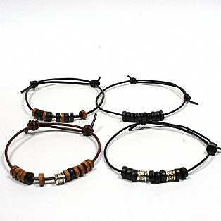 Mens / Ladies Brown or Black Leather and Bead Adjustable Tribal Surfer Bracelet / Wristband