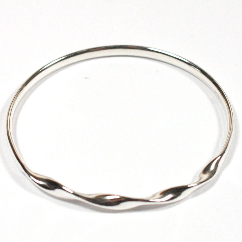 Solid Silver 925 Handmade Twisted Oval Bangle