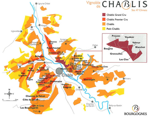 Chablis Wine Map - Terroirs, Appellations and Climats