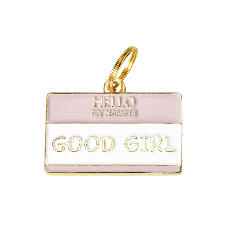 Pet ID Tag - Hello My Name is 'Good Girl' - foxyfido