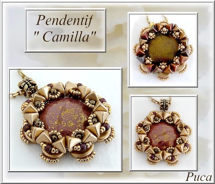 "Free Tutorial: Pendant ""Camilla"" made of Puca Beads"
