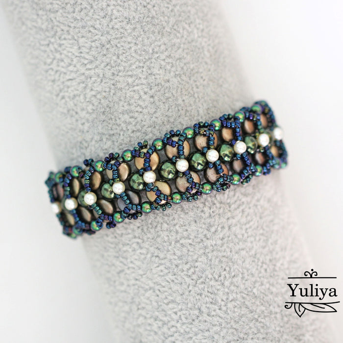 Photo Tutorial Bracelet «DARK GREEN» with DiscDuo and RounDuo glass beads (free)