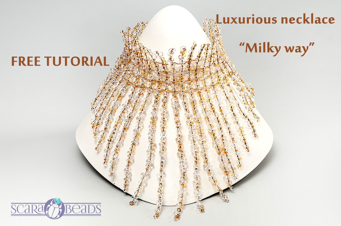 "Luxurious Necklace ""Milky way"""