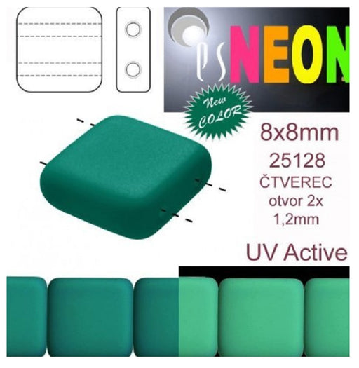 Tile Neon Beads 8x8x3.2 mm 2-Loch  Neon Dunkelgrün Tschechisches Glas  Color_Green