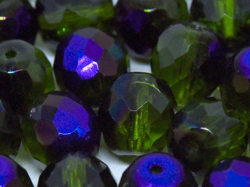 10 St. Fire Polished facettierte Glasperlen rund 10mm, Olivine Azuro, Tschechisches Glas