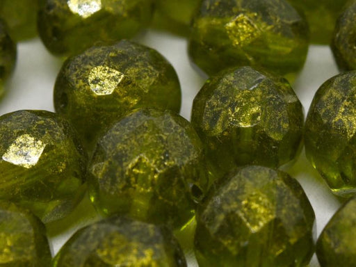 10 St. Fire Polished facettierte Glasperlen rund 10mm, Olivine Gold Picasso, Tschechisches Glas