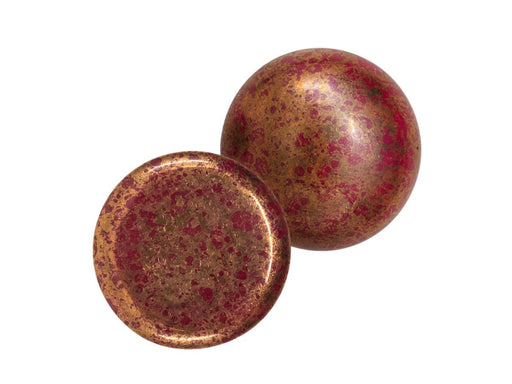 1 pc 1 pc Czech Glass Cabochons 18 mm Opaque Coral Red Bronze Czech Glass Red Brown