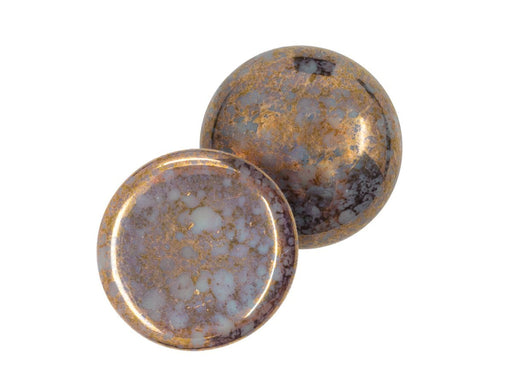 1 pc 1 pc Czech Glass Cabochons 18 mm Opaque Grey Bronze Czech Glass Grey Brown