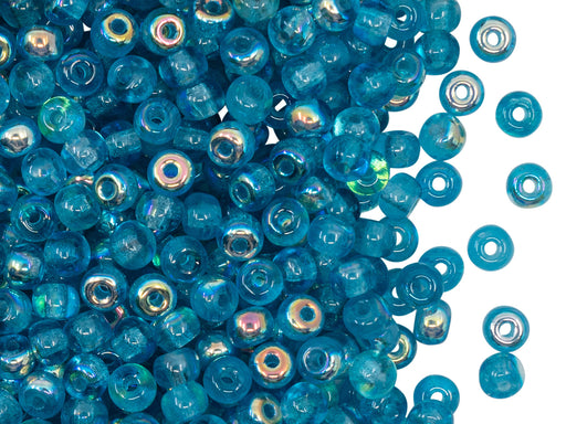 Gepresste Rocailles 4 mm Transparent Aquamarin AB Tschechisches Glas Farbe_Blue Farbe_ Multicolored