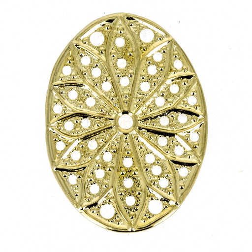 Filigree oval 29 x 19 mm vergoldet mit 23 kt Gold Metall Color_Gold