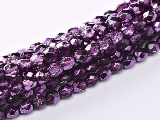 100 pcs 100 pcs Fire Polished Beads 3 mm Crystal Amethyst Metallic Ice Czech Glass Purple