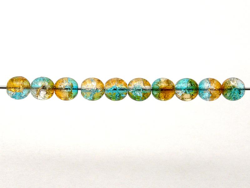 50 St. Runde Perlen 6 mm, Crystal Orange Aqua Blue Two Tone Luster, Böhmische Glas