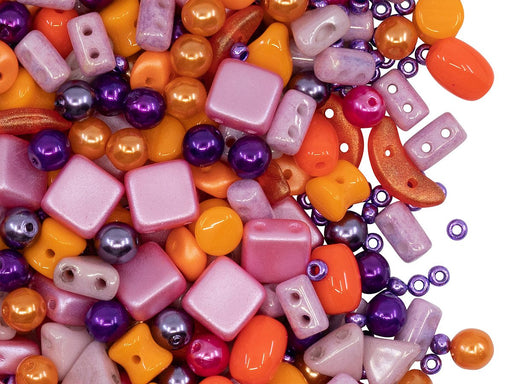 Glasperlen-Mix Orange Lila Rosa Tschechisches Glas Orange Purple Pink
