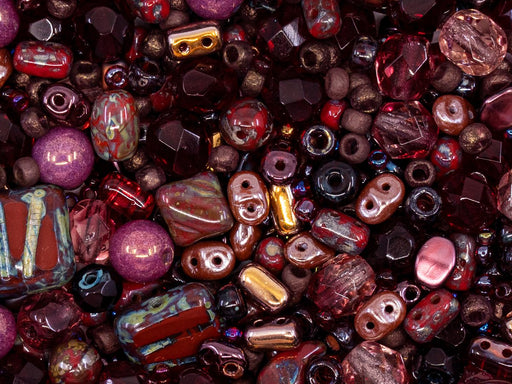 Glasperlen-Mix Magic Brown Rot Tschechisches Glas  Farbe_Red Farbe_ Brown Farbe_ Multicolored