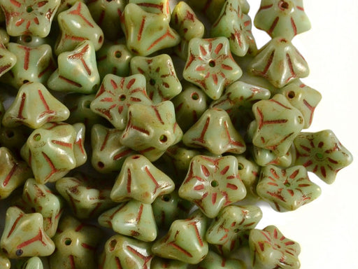 Flower Beads 9x6 mm Light Turquoise Green Picasso Czech Glass Green Brown Multicolored