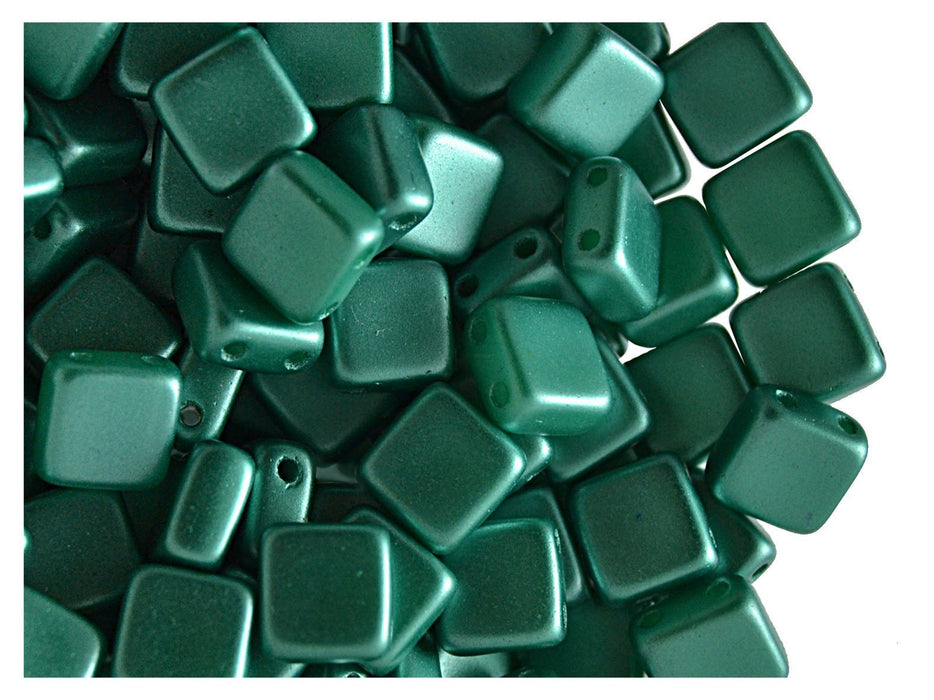 Tile Beads 6x6x3 mm 2 Holes Chalk White Pastel Dark Green Czech Glass Green