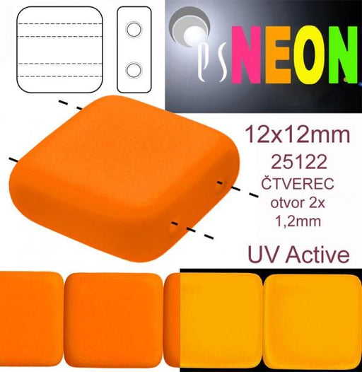 7 Stück 2-Loch Tile NEON Beads, 12x12x4.5 mm, Orange, Tschechisches Glas