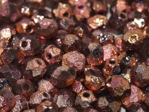 Fire Polished Beads 6 mm Crystal Etched Full Capri Rose Czech Glass Multicolored Gold Pink