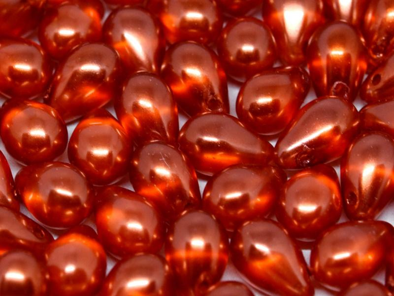 30 St. Teardrop Perlen 6x9mm, Böhmisches Glas, Halbtransparente Perlen Rot-Orange