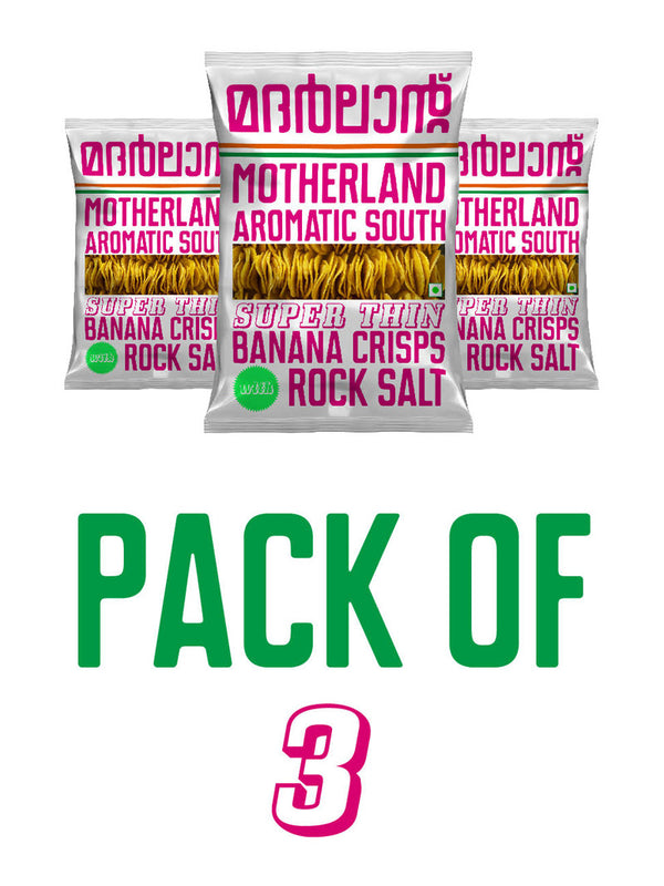 Super Thin Banana Crisps with Rock Salt - Pack of 3