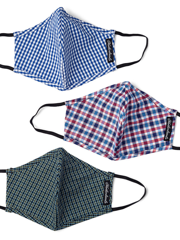 Madras Check Masks - Pack of 3