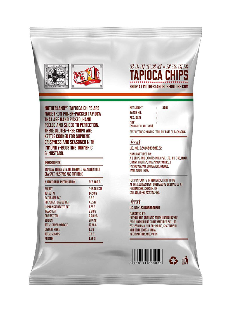 Tapioca Chips with Turmeric and Mustard - Pack of 3