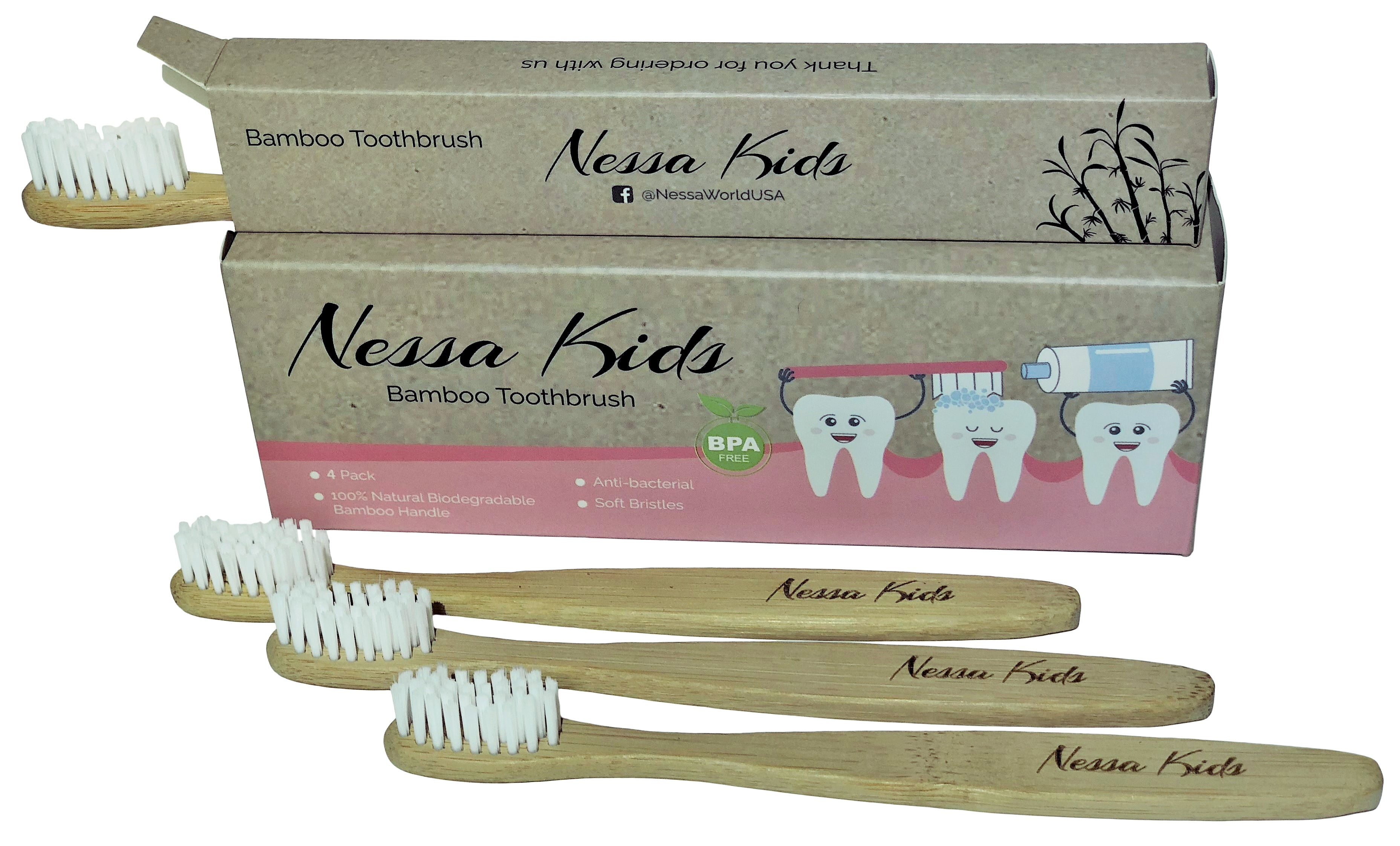 Nessa Care Natural Organic Bamboo Toothbrush for Kids Soft BPA Free Bristles Pack of 4