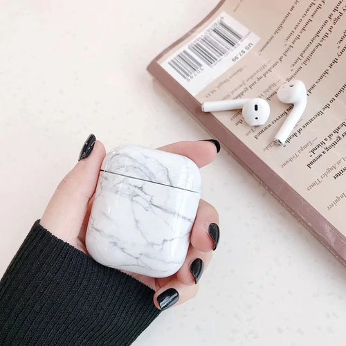 Noble White Marble Airpods Case With Fancy Design and Strong Build Quality - bezzy-tech