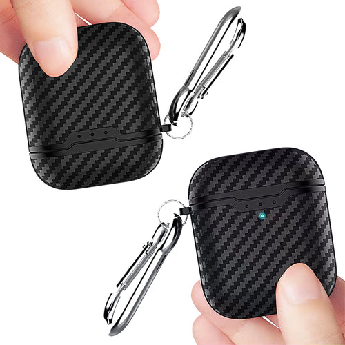 Premium Black Carbon Fibre Airpods Case With Premium Silicone and Shock-Proof Design - bezzy-tech