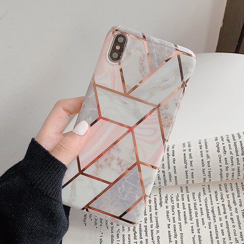 Magical Marble Geometric Infused White and Pink Case For iPhone X/Xs