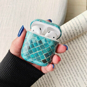 Smoky Green Patch Marble Airpods Case With Fancy Design and Strong Build Quality