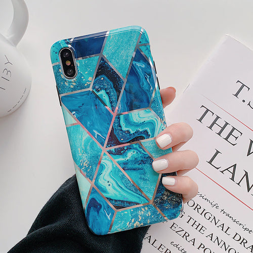 Galactic Space Geometric Infused Blue Case For iPhone X/Xs