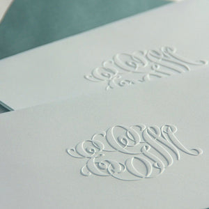 Blue foldover engraved blind note monogram