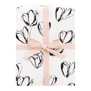 Gift Wrap Floral Black and White