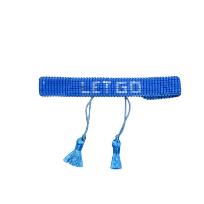 Let Go blue beaded bracelet. Gift for her. Shop gifts. Shop small. Shop local. Charlotte.