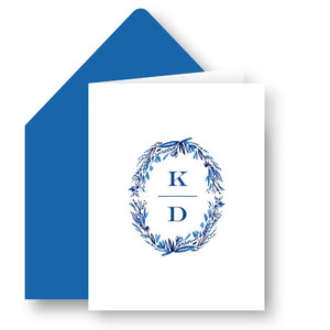 Blue Monogrammed Custom Foldover Note
